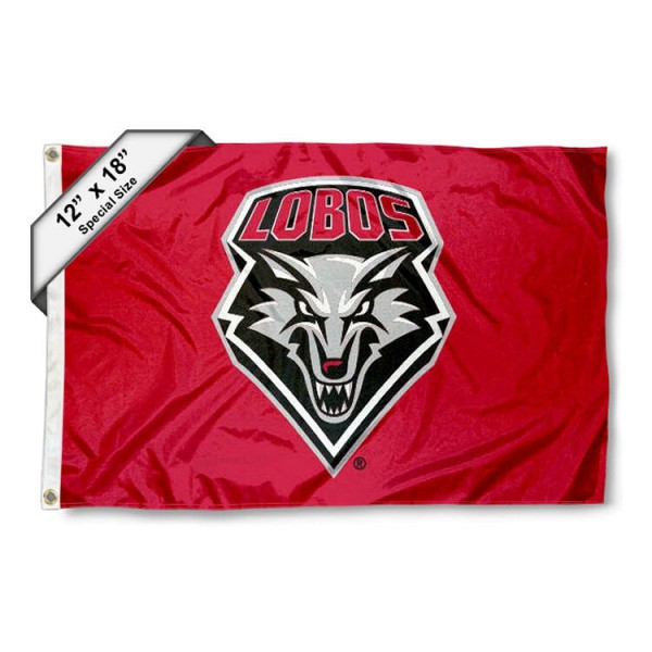 University of New Mexico Mini Flag is 12x18 inches, polyester, offers quadruple stitched flyends for durability, has two metal grommets, and is double sided. Our mini flags for University of New Mexico are licensed by the university and NCAA and can be used as a boat flag, motorcycle flag, golf cart flag, or ATV flag.