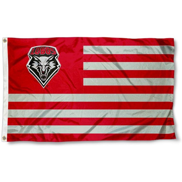 University of New Mexico Stripes Flag measures 3'x5', is made of polyester, offers double stitched flyends for durability, has two metal grommets, and is viewable from both sides with a reverse image on the opposite side. Our University of New Mexico Stripes Flag is officially licensed by the selected school university and the NCAA.