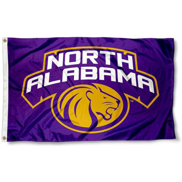 University of North Alabama Flag measures 3'x5', is made of 100% poly, has quadruple stitched sewing, two metal grommets, and has double sided Team University logos. Our UNA Lions 3x5 Flag is officially licensed by the selected university and the NCAA.