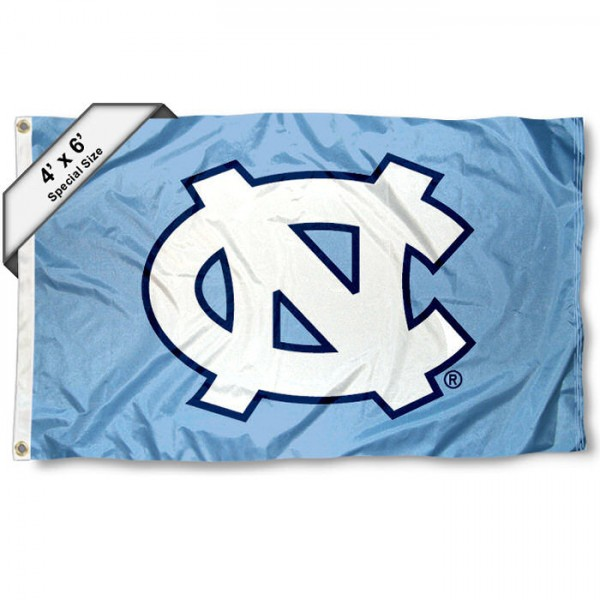 University of North Carolina 4x6 Flag measures 4x6 feet, is made thick woven polyester, has quadruple stitched flyends, two metal grommets, and offers screen printed NCAA University of North Carolina athletic logos and insignias. Our University of North Carolina 4x6 Flag is officially licensed by University of North Carolina and the NCAA.