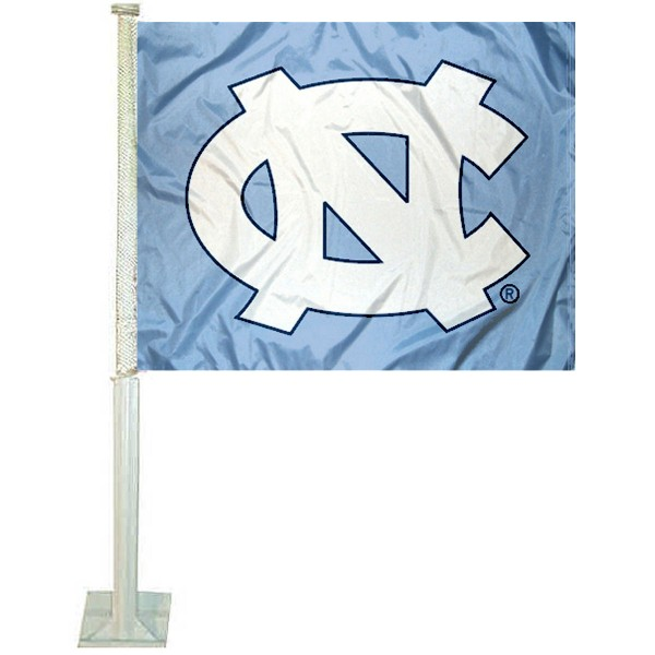 University of North Carolina Car Window Flag measures 12x15 inches, is constructed of sturdy 2 ply polyester, and has screen printed school logos which are readable and viewable correctly on both sides. University of North Carolina Car Window Flag is officially licensed by the NCAA and selected university.