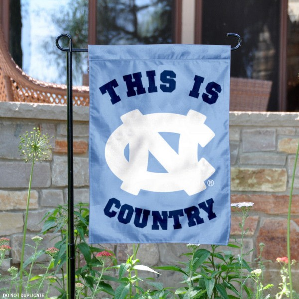 University of North Carolina Country Garden Flag is 13x18 inches in size, is made of 2-layer polyester, screen printed university athletic logos and lettering, and is readable and viewable correctly on both sides. Available same day shipping, our University of North Carolina Country Garden Flag is officially licensed and approved by the university and the NCAA.