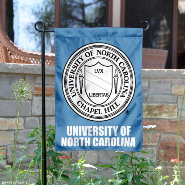 University of North Carolina Crest Logo Garden Flag is 13x18 inches in size, is made of 2-layer polyester, screen printed university athletic logos and lettering, and is readable and viewable correctly on both sides. Available same day shipping, our University of North Carolina Crest Logo Garden Flag is officially licensed and approved by the university and the NCAA.