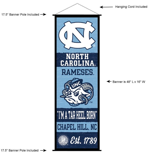 "This ""ready to hang"" University of North Carolina Decor and Banner is made of polyester material, measures a large 17.5"" x 48"", offers screen printed athletic logos, and includes both top and bottom 3/4"" diameter plastic banner poles and hanging cord. Our University of North Carolina D�cor and Banner is Officially Licensed by the selected college and NCAA."