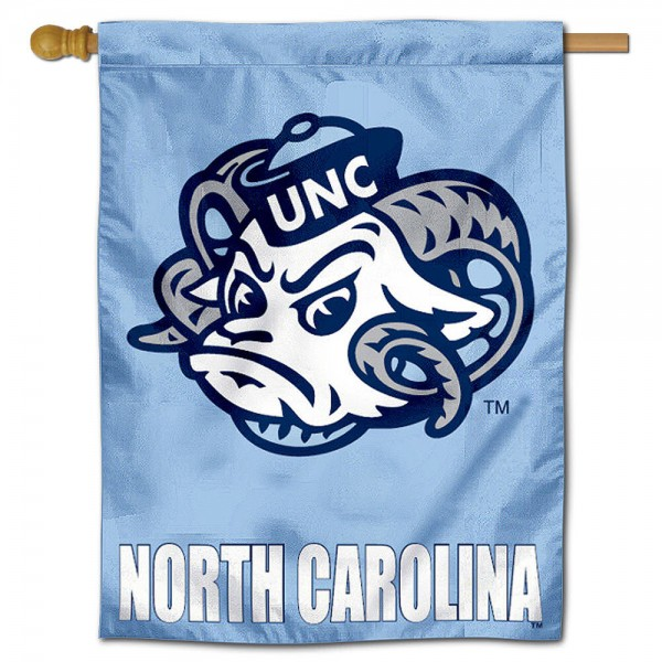 "University of North Carolina Decorative Flag is constructed of polyester material, is a vertical house flag, measures 28""x40"", offers screen printed athletic insignias, and has a top pole sleeve to hang vertically. Our University of North Carolina Decorative Flag is Officially Licensed by University of North Carolina and NCAA."