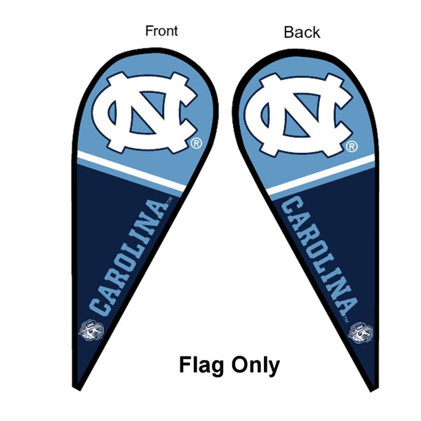 University of North Carolina Feather Flag is 9 feet by 3 feet and is a tall 10' when fully assembled. The feather flag is made of thick polyester and is readable and viewable on both sides. The screen printed North Carolina Tar Heels double sided logos are NCAA Officially Licensed and is Team and University approved.
