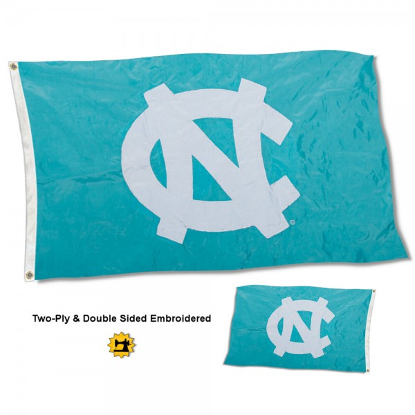 University of North Carolina Flag measures 3'x5' in size, is made of 2 layer embroidered 100% nylon, has quadruple stitched fly ends for durability, and is viewable and readable correctly on both sides. Our University of North Carolina Flag is officially licensed by the university, school, and the NCAA