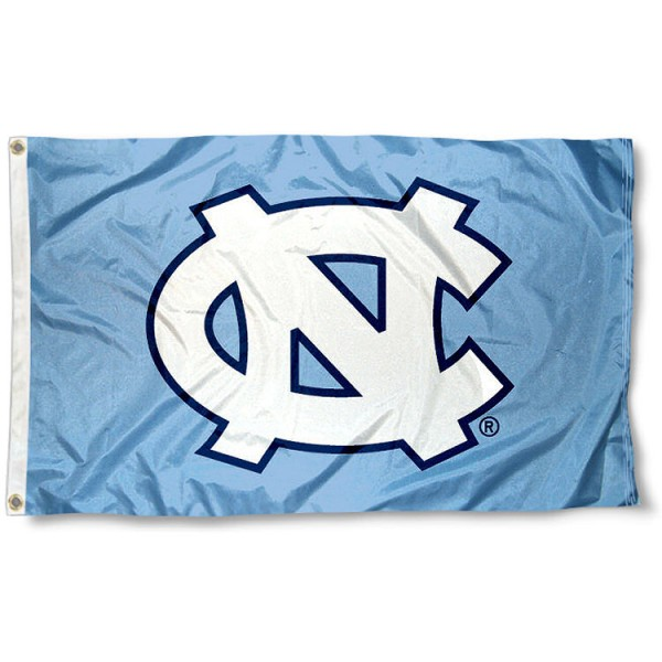 University of North Carolina Flag measures 3'x5', is made of 100% poly, has quadruple stitched sewing, two metal grommets, and has double sided University of North Carolina logos. Our University of North Carolina Flag is officially licensed by the selected university and the NCAA