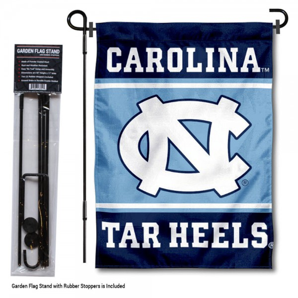 "University of North Carolina Garden Flag and Stand kit includes our 13""x18"" garden banner which is made of 2 ply poly with liner and has screen printed licensed logos. Also, a 40""x17"" inch garden flag stand is included so your University of North Carolina Garden Flag and Stand is ready to be displayed with no tools needed for setup. Fast Overnight Shipping is offered and the flag is Officially Licensed and Approved by the selected team."