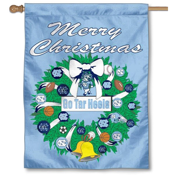 University of North Carolina Holiday Flag is a decorative house flag, 30x40 inches, made of 100% polyester, Holiday NCAA team insignias, and has a top pole sleeve to hang vertically. Our University of North Carolina Holiday Flag is officially licensed by the selected university and the NCAA.