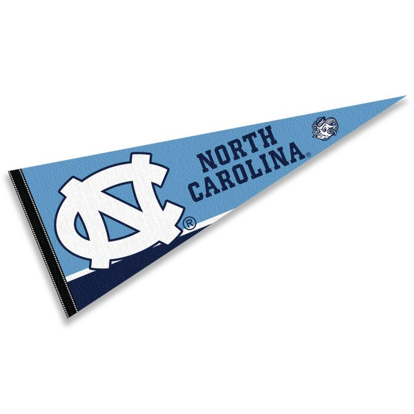 University of North Carolina Pennant consists of our full size sports pennant which measures 12x30 inches, is constructed of felt, is single sided imprinted, and offers a pennant sleeve for insertion of a pennant stick, if desired. This UNC Tar Heels Pennant Decorations is Officially Licensed by the selected university and the NCAA.