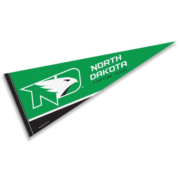 University of North Dakota Hawk Logo Pennant consists of our full size sports pennant which measures 12x30 inches, is constructed of felt, is single sided imprinted, and offers a pennant sleeve for insertion of a pennant stick, if desired. This North Dakota Fighting Hawks Pennant Decorations is Officially Licensed by the selected university and the NCAA.