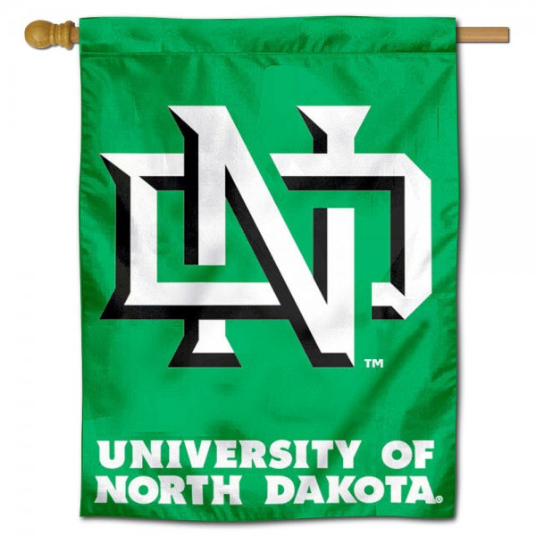 "University of North Dakota House Flag is constructed of polyester material, is a vertical house flag, measures 30""x40"", offers screen printed athletic insignias, and has a top pole sleeve to hang vertically. Our University of North Dakota House Flag is Officially Licensed by University of North Dakota and NCAA."
