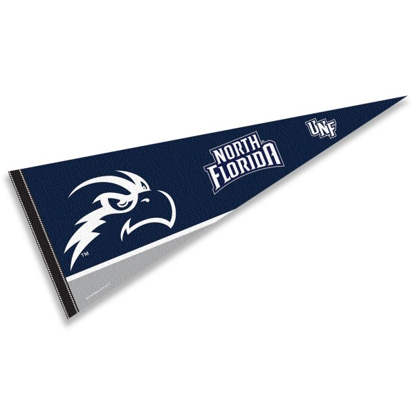 University of North Florida Pennant consists of our full size sports pennant which measures 12x30 inches, is constructed of felt, is single sided imprinted, and offers a pennant sleeve for insertion of a pennant stick, if desired. This University of North Florida Felt Pennant is officially licensed by the selected university and the NCAA.
