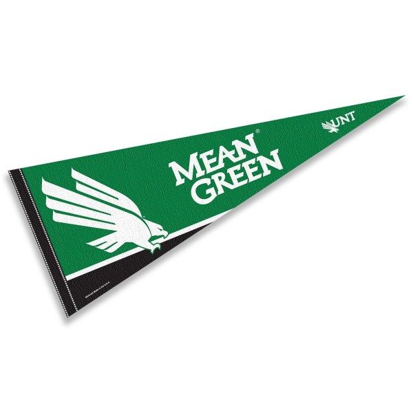 University of North Texas Decorations consists of our full size pennant which measures 12x30 inches, is constructed of felt, is single sided imprinted, and offers a pennant sleeve for insertion of a pennant stick, if desired. This University of North Texas Decorations is officially licensed by the selected university and the NCAA.