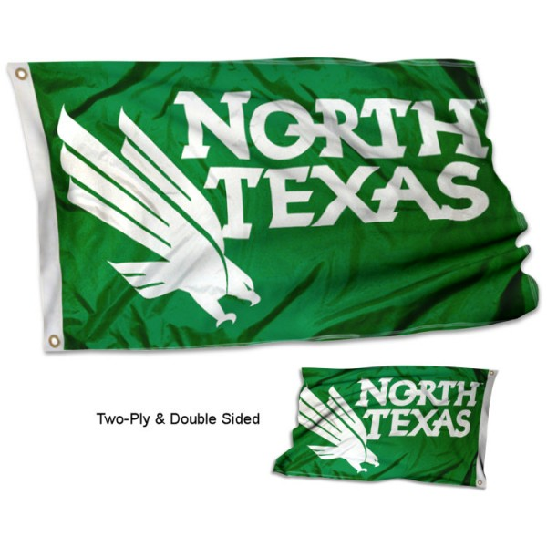University of North Texas Flag measures 3'x5', is made of 2 layer 100% polyester, has quadruple stitched flyends for durability, and is readable correctly on both sides. Our University of North Texas Flag is officially licensed by the university, school, and the NCAA