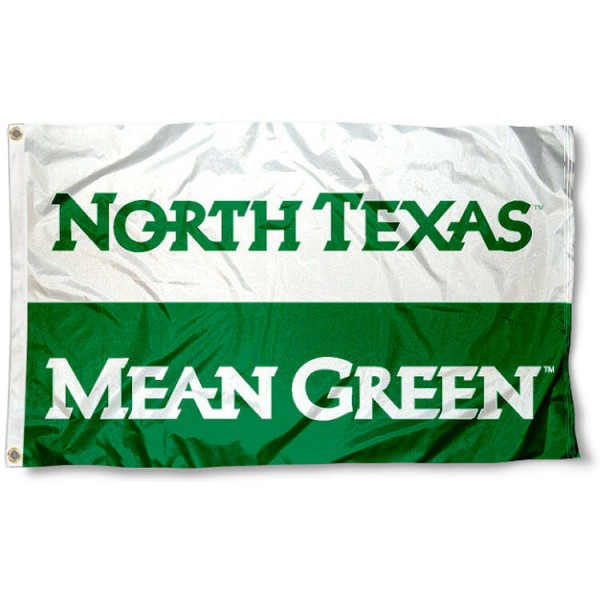 University of North Texas Flag measures 3'x5', is made of 100% poly, has quadruple stitched sewing, two metal grommets, and has double sided Team University logos. Our University of North Texas Flag is officially licensed by the selected university and the NCAA.
