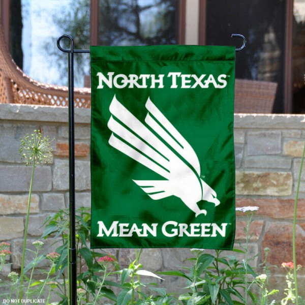 University of North Texas Garden Flag is 13x18 inches in size, is made of 2-layer polyester, screen printed University of North Texas athletic logos and lettering. Available with Same Day Express Shipping, Our University of North Texas Garden Flag is officially licensed and approved by University of North Texas and the NCAA.