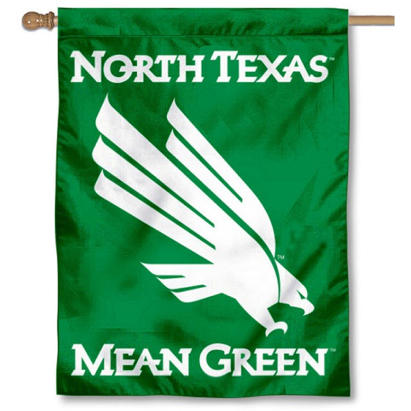 University of North Texas House Flag is a vertical house flag which measures 30x40 inches, is made of 2 ply 100% polyester, offers dye sublimated NCAA team insignias, and has a top pole sleeve to hang vertically. Our University of North Texas House Flag is officially licensed by the selected university and the NCAA