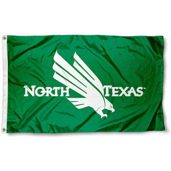 University of North Texas Large Flag measures 3'x5', is made of 100% poly, has quadruple stitched sewing, two metal grommets, and has double sided Team University logos. Our University of North Texas Large Flag is officially licensed by the selected university and the NCAA.