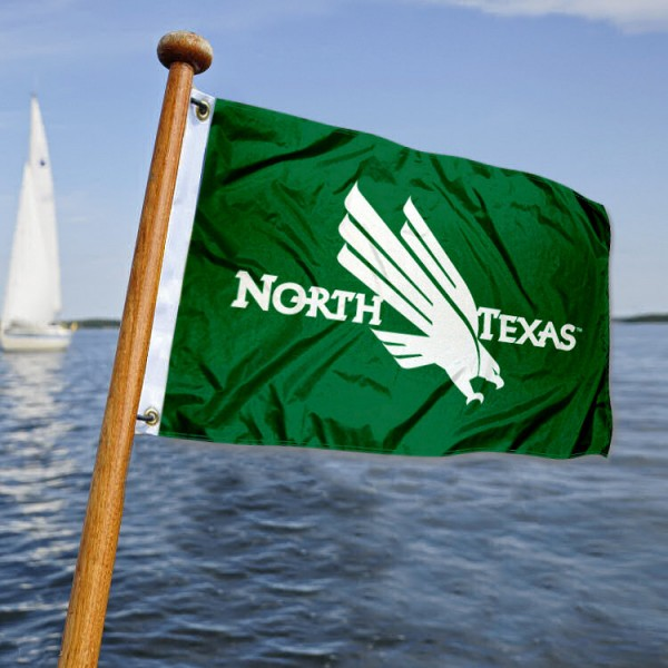 University of North Texas Mean Green Nautical Flag measures 12x18 inches, is made of two-ply polyesters, offers quadruple stitched flyends for durability, has two metal grommets, and is viewable from both sides. Our University of North Texas Mean Green Nautical Flag is officially licensed by the selected university and the NCAA and can be used as a motorcycle flag, golf cart flag, or ATV flag.