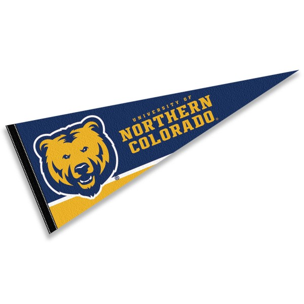 University of Northern Colorado Felt Pennant consists of our full size sports pennant which measures 12x30 inches, is constructed of felt, is single sided imprinted, and offers a pennant sleeve for insertion of a pennant stick, if desired. This UNC Bears Felt Pennant is officially licensed by the selected university and the NCAA.