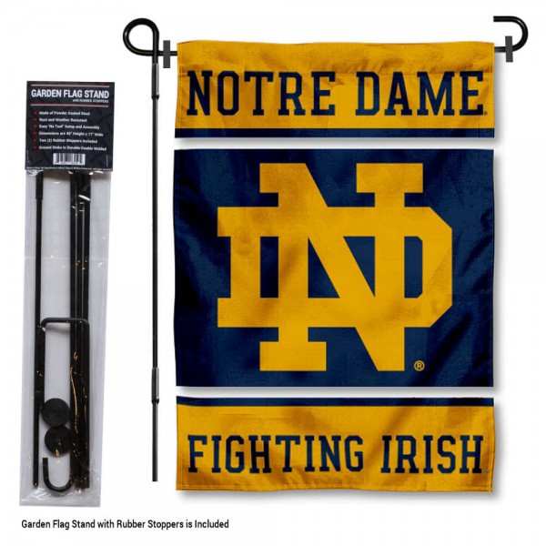 "University of Notre Dame Garden Flag and Stand kit includes our 13""x18"" garden banner which is made of 2 ply poly with liner and has screen printed licensed logos. Also, a 40""x17"" inch garden flag stand is included so your University of Notre Dame Garden Flag and Stand is ready to be displayed with no tools needed for setup. Fast Overnight Shipping is offered and the flag is Officially Licensed and Approved by the selected team."