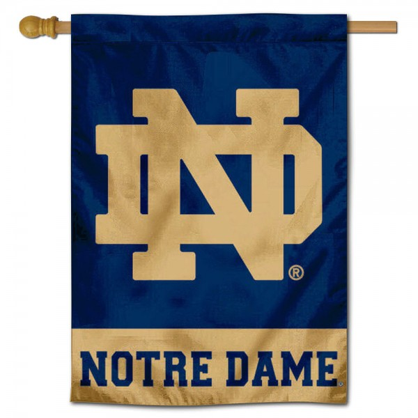 "University of Notre Dame House Flag is constructed of polyester material, is a vertical house flag, measures 28""x42"", offers screen printed athletic insignias, and has a top pole sleeve to hang vertically. Our University of Notre Dame House Flag is Officially Licensed by University of Notre Dame and NCAA."