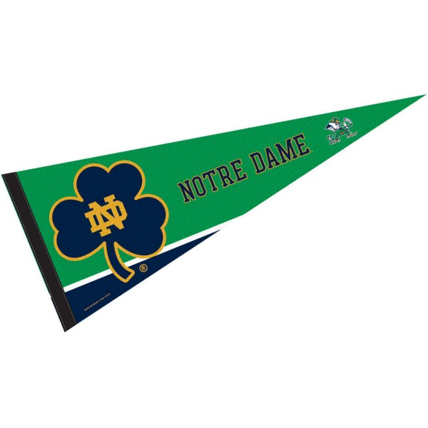 University of Notre Dame Pennant consists of our full size sports pennant which measures 12x30 inches, is constructed of felt, is single sided imprinted, and offers a pennant sleeve for insertion of a pennant stick, if desired. This Fighting Irish Pennant Decorations is Officially Licensed by the selected university and the NCAA.