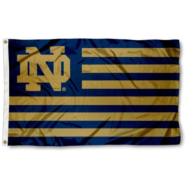 University of Notre Dame Striped Flag measures 3'x5', is made of nylon, offers four-stitched flyends for durability, has two metal grommets, and is viewable from both sides with a reverse image on the opposite side. Our University of Notre Dame Striped Flag is officially licensed by the selected school university and the NCAA.