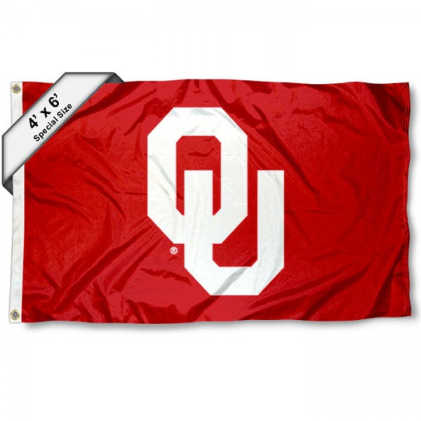 University of Oklahoma 4x6 Flag measures a huge 4x6 feet, is made of 100% nylon, offers quadruple stitched flyends, has two brass grommets, and offers embroidered NCAA team logos and insignias. Our University of Oklahoma 4x6 Flag is officially licensed by the selected university and NCAA.