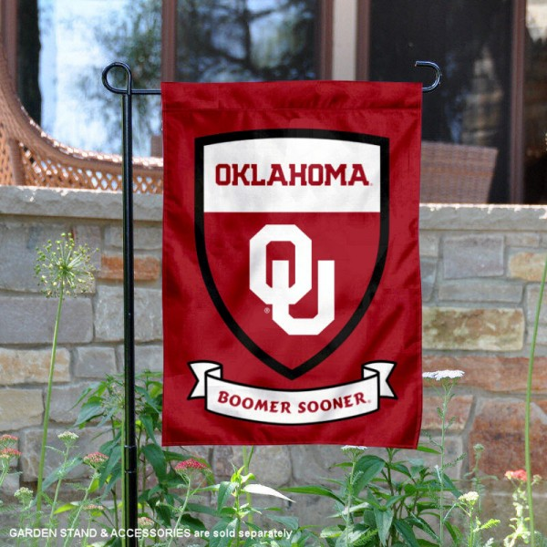University of Oklahoma Boomer Sooner Shield Garden Flag is 13x18 inches in size, is made of 2-layer polyester, screen printed university athletic logos and lettering, and is readable and viewable correctly on both sides. Available same day shipping, our University of Oklahoma Boomer Sooner Shield Garden Flag is officially licensed and approved by the university and the NCAA.