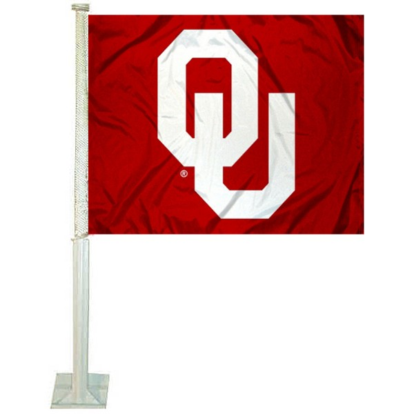 University of Oklahoma Car Window Flag measures 12x15 inches, is constructed of sturdy 2 ply polyester, and has screen printed school logos which are readable and viewable correctly on both sides. University of Oklahoma Car Window Flag is officially licensed by the NCAA and selected university.