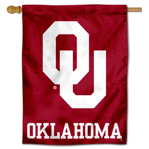 "University of Oklahoma Decorative Flag is constructed of polyester material, is a vertical house flag, measures 30""x40"", offers screen printed athletic insignias, and has a top pole sleeve to hang vertically. Our University of Oklahoma Decorative Flag is Officially Licensed by University of Oklahoma and NCAA."
