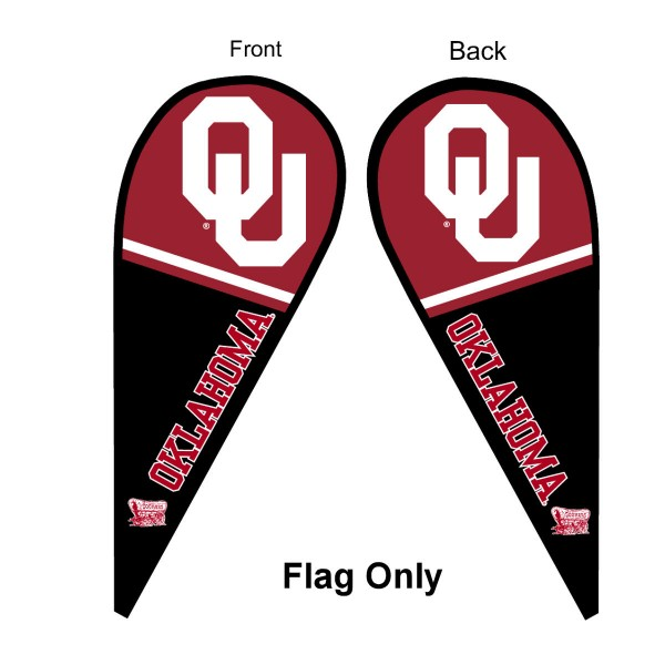 University of Oklahoma Feather Flag is 9 feet by 3 feet and is a tall 10' when fully assembled. The feather flag is made of thick polyester and is readable and viewable on both sides. The screen printed Oklahoma Sooners double sided logos are NCAA Officially Licensed and is Team and University approved.