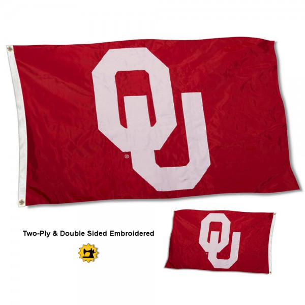 University of Oklahoma Flag measures 3'x5' in size, is made of 2 layer embroidered 100% nylon, has quadruple stitched fly ends for durability, and is viewable and readable correctly on both sides. Our University of Oklahoma Flag is officially licensed by the university, school, and the NCAA