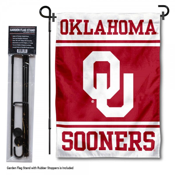 "University of Oklahoma Garden Flag and Stand kit includes our 13""x18"" garden banner which is made of 2 ply poly with liner and has screen printed licensed logos. Also, a 40""x17"" inch garden flag stand is included so your University of Oklahoma Garden Flag and Stand is ready to be displayed with no tools needed for setup. Fast Overnight Shipping is offered and the flag is Officially Licensed and Approved by the selected team."