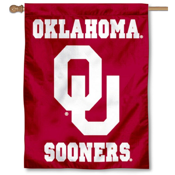 University of Oklahoma House Flag is a vertical house flag which measures 30x40 inches, is made of 100% 2-ply polyester, offers screen printed college team insignias, and has a top pole sleeve to hang vertically. Our University of Oklahoma House Flag is officially licensed by the selected university and the NCAA.