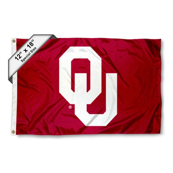 University of Oklahoma Mini Flag is 12x18 inches, polyester, offers quadruple stitched flyends for durability, has two metal grommets, and is double sided. Our mini flags for University of Oklahoma are licensed by the university and NCAA and can be used as a boat flag, motorcycle flag, golf cart flag, or ATV flag