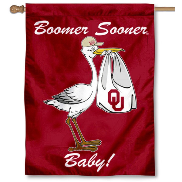 University of Oklahoma New Baby Flag measures 30x40 inches, is made of poly, has a top hanging sleeve, and offers dye sublimated OU Sooners logos. This Decorative University of Oklahoma New Baby House Flag is officially licensed by the NCAA.