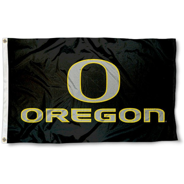 University of Oregon Black Flag measures 3'x5', is made of 100% poly, has quadruple stitched sewing, two metal grommets, and has double sided University of Oregon Duck logos. Our University of Oregon Black Flag is officially licensed by the selected university and the NCAA.