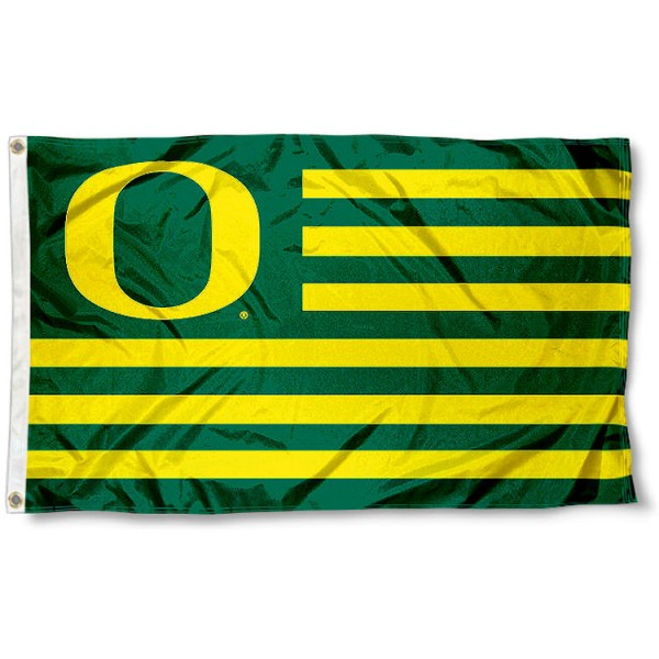 University of Oregon Ducks Striped Flag measures 3'x5', is made of polyester, offers double stitched flyends for durability, has two metal grommets, and is viewable from both sides with a reverse image on the opposite side. Our University of Oregon Ducks Striped Flag is officially licensed by the selected school university and the NCAA.