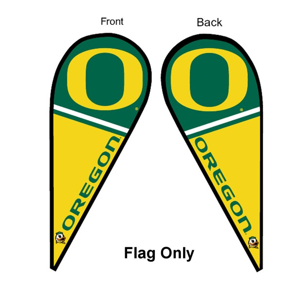 University of Oregon Feather Flag is 9 feet by 3 feet and is a tall 10' when fully assembled. The feather flag is made of thick polyester and is readable and viewable on both sides. The screen printed Oregon Ducks double sided logos are NCAA Officially Licensed and is Team and University approved.