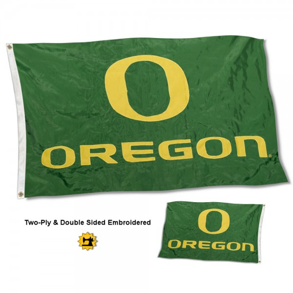 University of Oregon Flag measures 3'x5' in size, is made of 2 layer embroidered 100% nylon, has quadruple stitched fly ends for durability, and is viewable and readable correctly on both sides. Our University of Oregon Flag is officially licensed by the university, school, and the NCAA