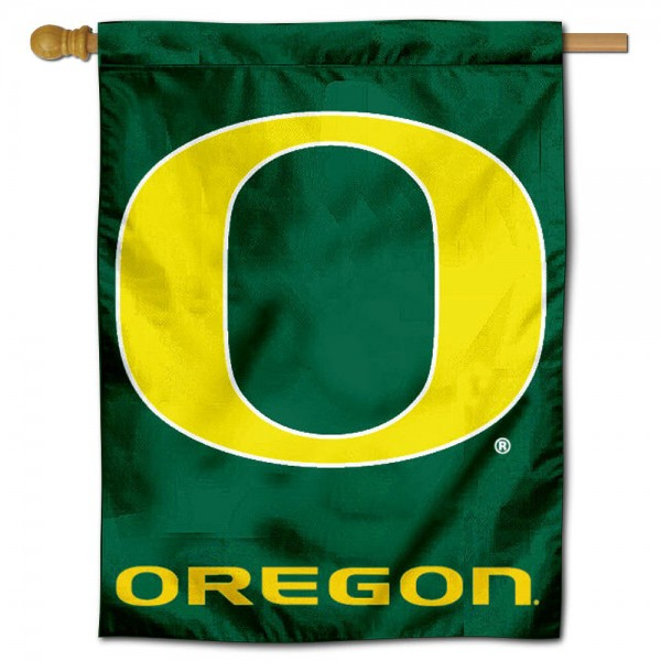 "University of Oregon House Flag is constructed of polyester material, is a vertical house flag, measures 30""x40"", offers screen printed athletic insignias, and has a top pole sleeve to hang vertically. Our University of Oregon House Flag is Officially Licensed by University of Oregon and NCAA."