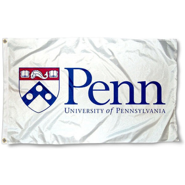 University of Pennsylvania White Flag measures 3x5 feet, is made of 100% polyester, offers quadruple stitched flyends, has two metal grommets, and offers screen printed NCAA team logos and insignias. Our University of Pennsylvania White Flag is officially licensed by the selected university and NCAA.
