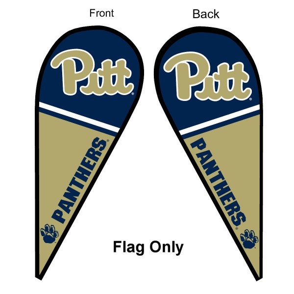 University of Pittsburgh Feather Flag is 9 feet by 3 feet and is a tall 10' when fully assembled. The feather flag is made of thick polyester and is readable and viewable on both sides. The screen printed Pittsburgh Panthers double sided logos are NCAA Officially Licensed and is Team and University approved.