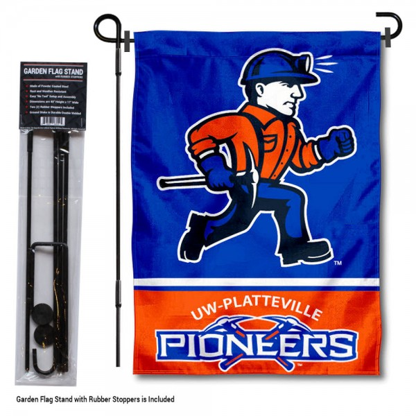 """University of Platteville Garden Flag and Stand kit includes our 13""""x18"""" garden banner which is made of 2 ply poly with liner and has screen printed licensed logos. Also, a 40""""x17"""" inch garden flag stand is included so your University of Platteville Garden Flag and Stand is ready to be displayed with no tools needed for setup. Fast Overnight Shipping is offered and the flag is Officially Licensed and Approved by the selected team."""