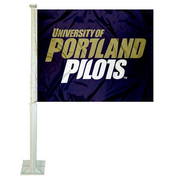 University of Portland Car Window Flag measures 12x15 inches, is constructed of sturdy 2 ply polyester, and has dye sublimated school logos which are readable and viewable correctly on both sides. University of Portland Car Window Flag is officially licensed by the NCAA and selected university.