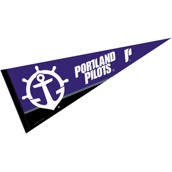 University of Portland Pennant consists of our full size sports pennant which measures 12x30 inches, is constructed of felt, is single sided imprinted, and offers a pennant sleeve for insertion of a pennant stick, if desired. This UP Pilots Felt Pennant is officially licensed by the selected university and the NCAA.